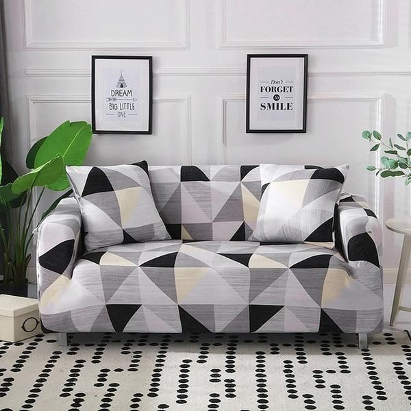 Sydney Geometric Gray Stretchable Elastic Sofa Cover Sofaprint Slip Covers Couch Couch Covers Sofa Covers