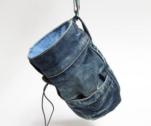 How to make a homemade chalk bag out of an old pair of jeans, or any pants for that matter. Must try this summer!
