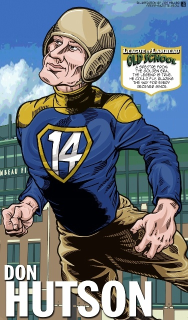 Don Hutson in The League of Lambeau by Green Bay Press-Gazette Media editorial cartoonist Joe Heller.  The 2013 iconic Green Bay Packers caricatures look back at the storied history of the NFL's oldest franchise. See them all at http://www.packersnews.com/section/PKR0601?odyssey=refresh