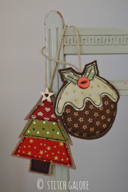 Handmade Christmas Tree and Pudding decorations by Stitch Galore Decorated with appliqué and freehand machine embroidery.  www.stitchgalore.com