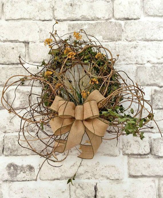 Honeysuckle Fall Wreath for Door, Autumn Wreath, Fall Decor, Silk Floral Wreath, Burlap Wreath, Autumn Decor, Yellow, Front Door Wreath,Etsy on Etsy, $162.00