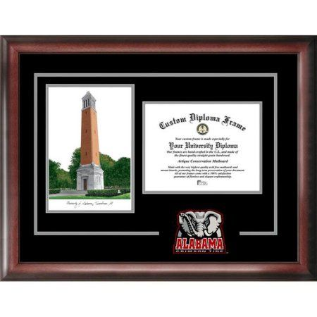 University of Alabama 8.5 inch x 11 inch Spirit Graduate Diploma Frame with Campus Images Lithograph