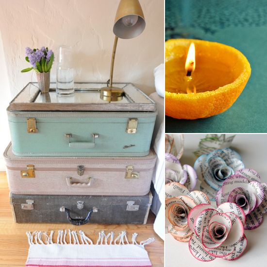 Love the suitcases and mirror for a bedside table. This is a perfect idea for that coastal cottage look. I found this at - 130 Upcycling Ideas That Will Blow Your Mind