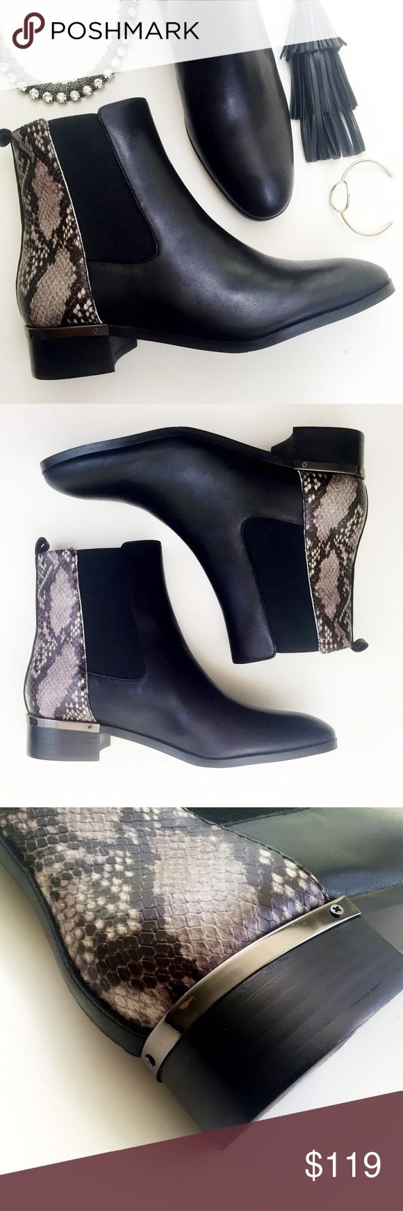 """Black and Snake Print Colorblock Chelsea Boots Details: • Size 9 • Leather with elastic panels • Pull on style • 1.25"""" stacked heel accented with a gunmetal plate • Brand new in box  06211609 Ivanka Trump Shoes Ankle Boots & Booties"""