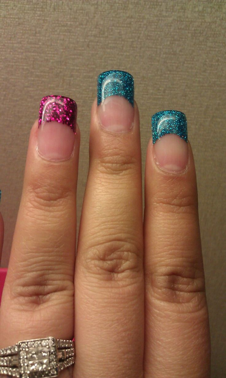 Hot Pink and Turquoise Glitter Tips. Solar Nails with a gel top coat