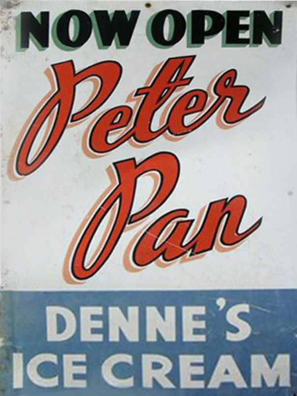 peter pan ice cream sandwich board 1950s
