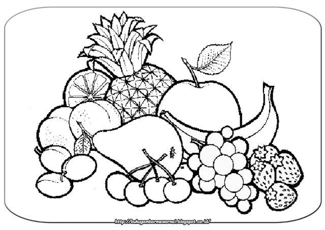 Gambar Mewarnai Buah-buahan - Gambar di atas adalah gambar mewarnai buah-buahan yang enak, dan s...