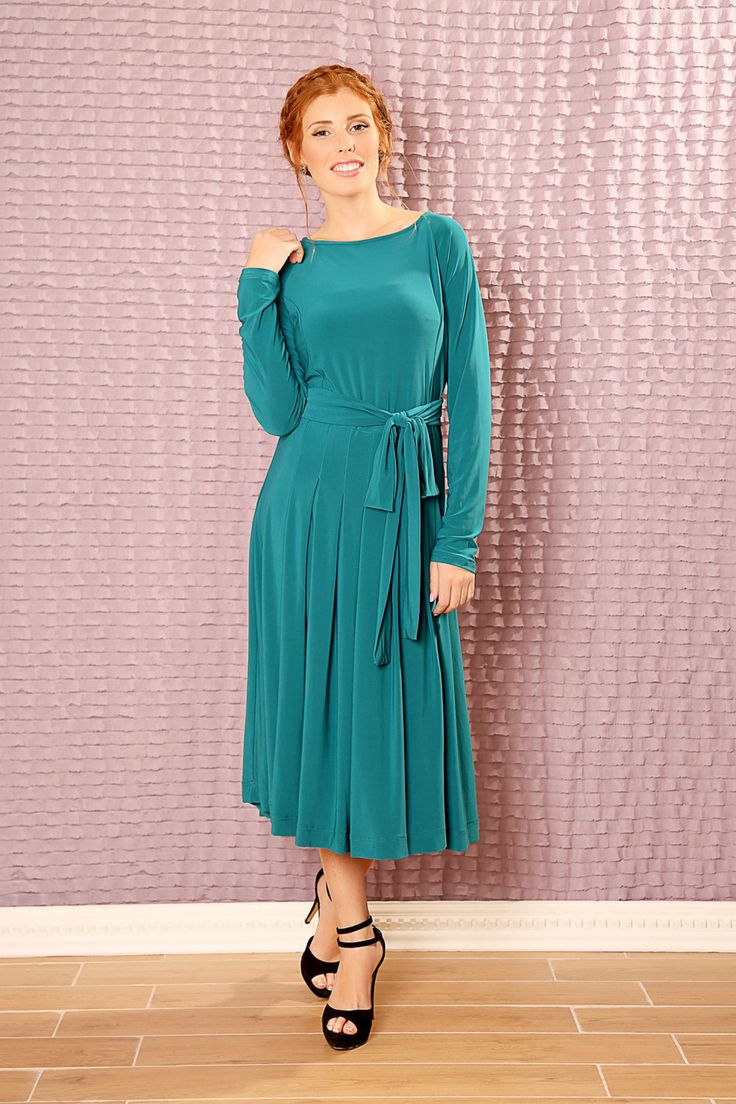Custom classic Bridesmaids dress - made to order dress - long sleeve modest midi dress by TAMARLANDAU on Etsy