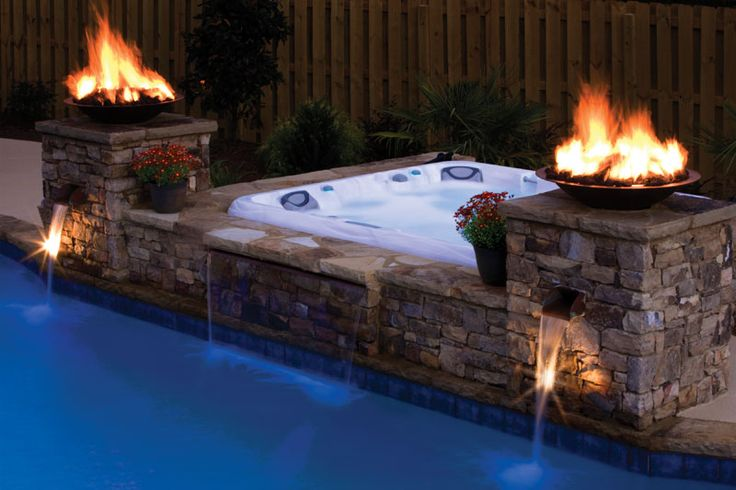 above ground hot tub built in