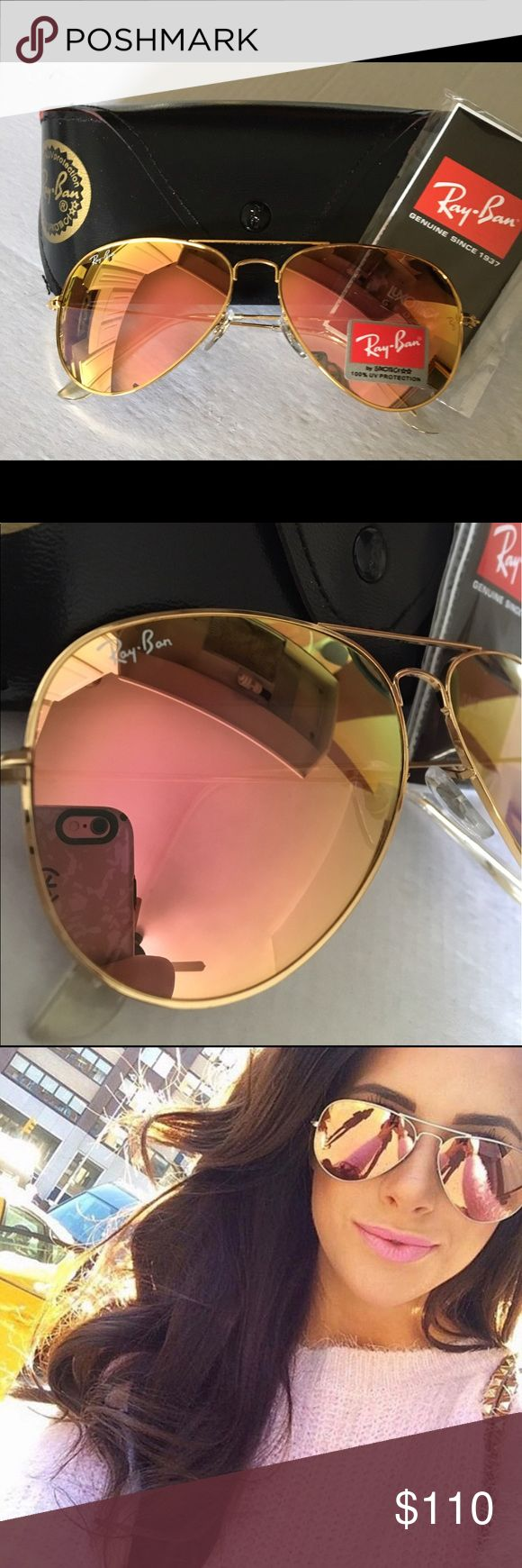 AUTHENTIC  Ray Ban Sunglasses Pink / Copper AUTHENTIC Ray Ban Sunglasses . Pink / copper lens with Gold frame. Brand new !! 58mm. Every gal should view this spring & summer through rose  color glasses ❤️. You will receive Ray Ban Sunglasses , Ray Ban Box , Ray Ban cleaning cloth , Ray Ban manual. Ray-Ban Accessories Sunglasses