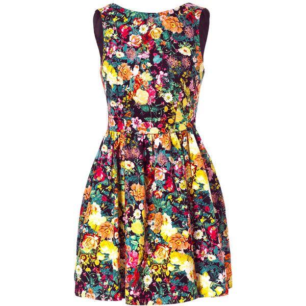 Zara Printed Pleated Dress ($60) ❤ liked on Polyvore