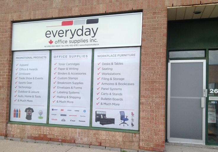 Make a statement with window graphics! Perforated vinyl lets the sun shine through while still providing privacy. Check out these #windowgraphics we just finished up for Everyday Office Supplies, who used the opportunity to promote their products to the public! #Marketing #Branding #Toronto #Etobicoke