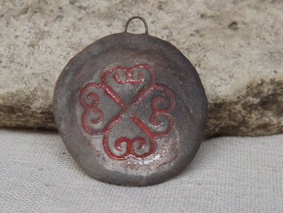 Ceramic Pendant round raku pendant by BlueBirdyDesign on Etsy, €7.00