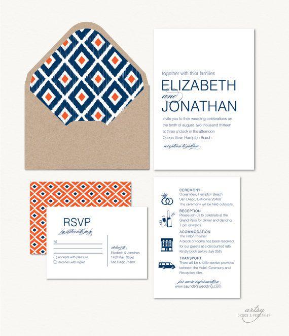 MODERN IKAT Print Wedding Invitations - Navy Blue & Orange - Printable on Etsy, $45.00