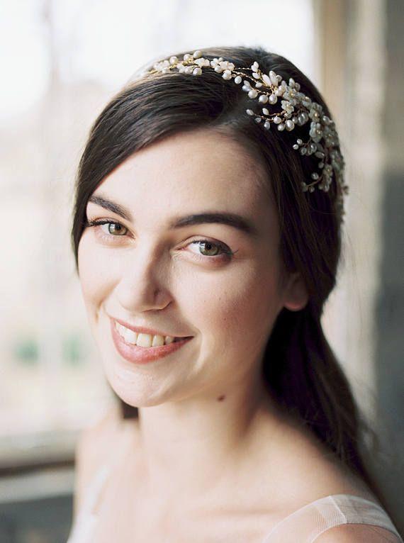 Haarkranz, hochzeitsstirnband, Krone, Hochzeit Kopfschmuck, Braut Stirnband, Krone, Perle Krone, Hochzeits-Tiara – AYAME – poli mincheva