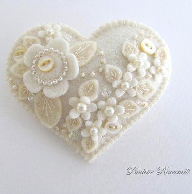 Beautifully Embellished Felt Hearts by Paulette Racanelli / Beedeebabee