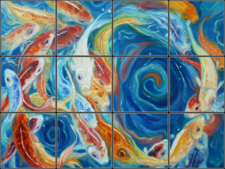 Contemporary Asian Koi  Tile Mural   Pacifica Tile Art Studio