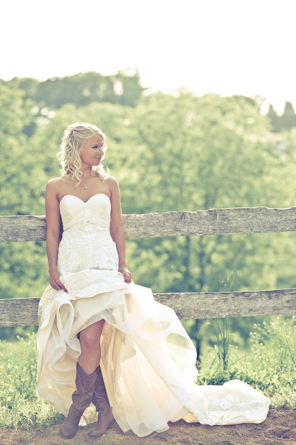 Cowboy boots say yes to the dress pinterest for Wedding dresses with cowboy boots