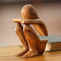 Wood sculpture Abstract Rest from Bali .- Novica.com