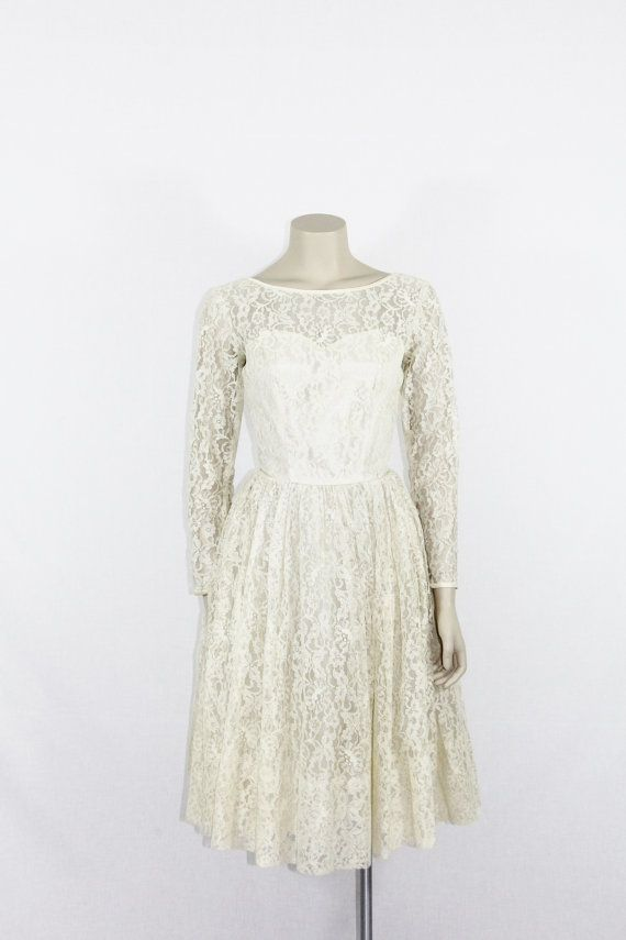 1950's Ivory Lace Wedding Dress  Long Sleeves and Illusion Bust Vintage Bridal Frock by VintageFrocksOfFancy