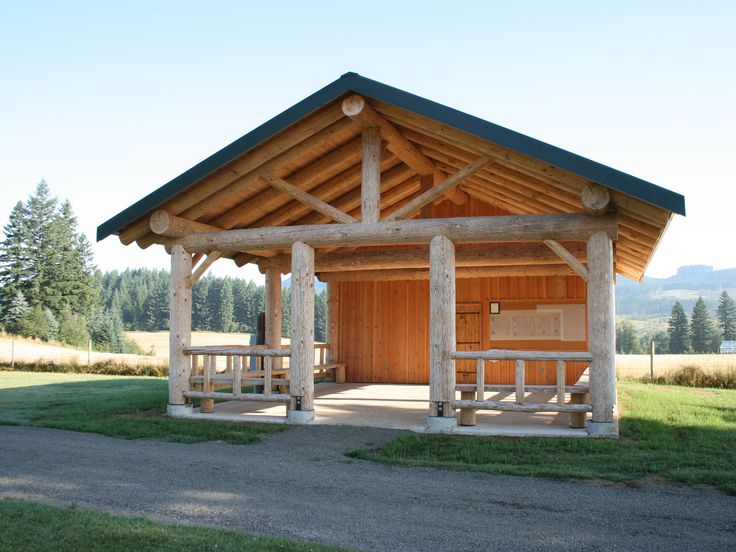 Log Pavilion at Fairview Cemetery in Oregon