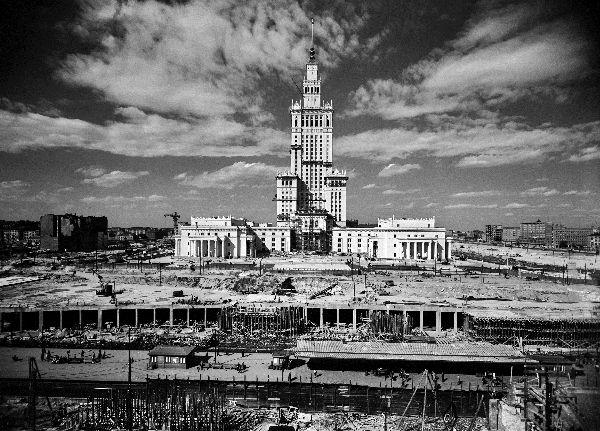 Warsaw after the World War II. Polish capital in 1950s.