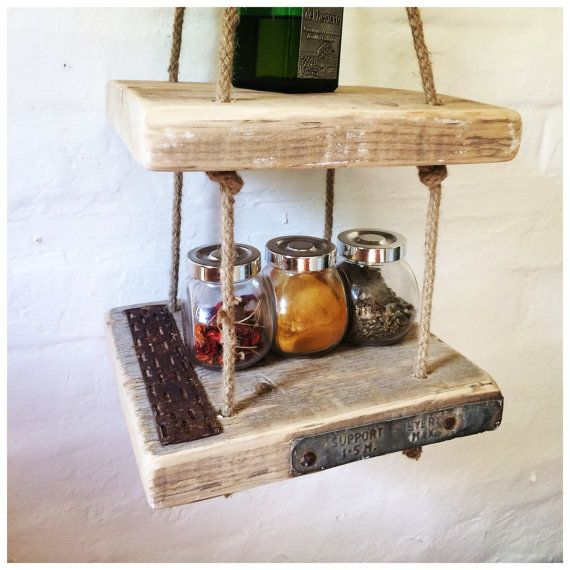 Lovely scaffold board shelves made out of an old scaffold board and sisal twine. Can be used anywhere in the home for a functional and beautiful
