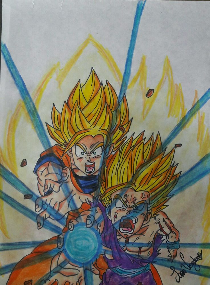 Goku y Gohan KAMEHAMEHA