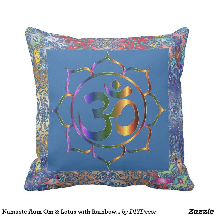 Namaste Aum Om & Lotus with Rainbow Vintage Border Throw Pillow