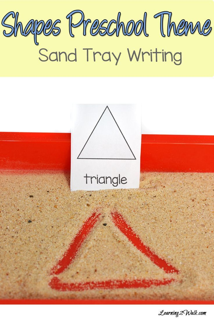 We did a few shapes preschool theme activities and this sand tray writing was a big hit!