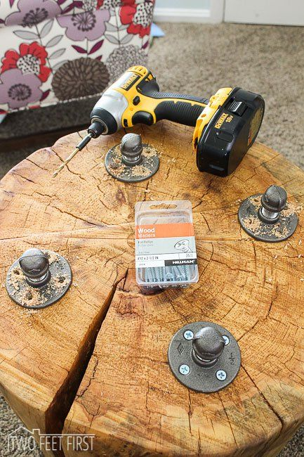 DIY stump tables with legs