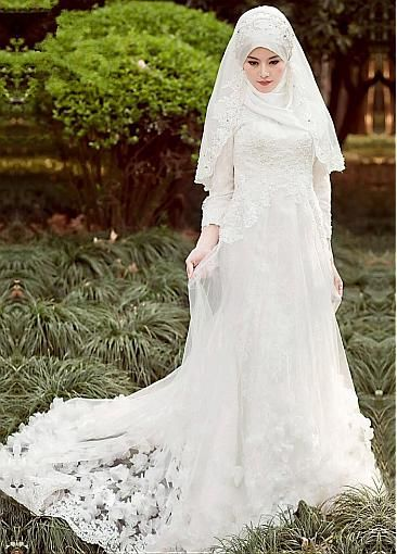 Marvelous Tulle Natural Waistline A-line Arabic Islamic Wedding Dresses with Beaded Lace Appliques