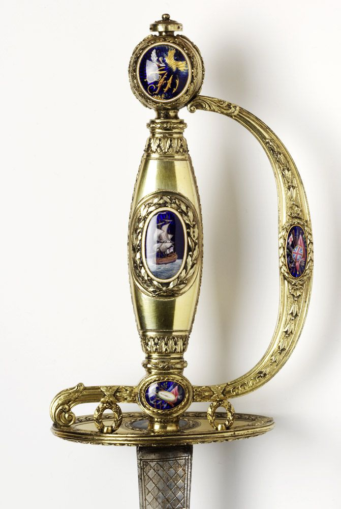 Sword from 1790s presented to Francis Douglas  James Morisset, one of London's most celebrated makers of enamelled gold dress-swords and boxes, was commissioned to produce this sword.    Sword, Mark of James Morisset, 1798-9