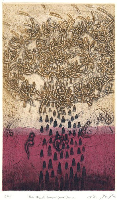 """takahikohayashi: """"The wind knows your name copperplate print (etching) with chine collé 林孝彦 HAYASHI Takahiko 2014 """" 2017.6/24〜7/8 「The Gathering」group exhibition at Gallery EM,Nagasaki 詳細はhttp://www.gallery-em.com"""