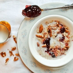 Coconut milk, roasted pecans, and a swirl of strawberry jam make this quinoa feel indulgent.