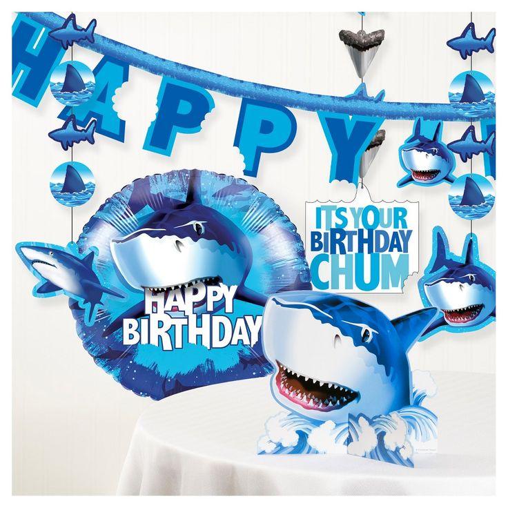 Shark Splash Birthday Party Decorations Kit,