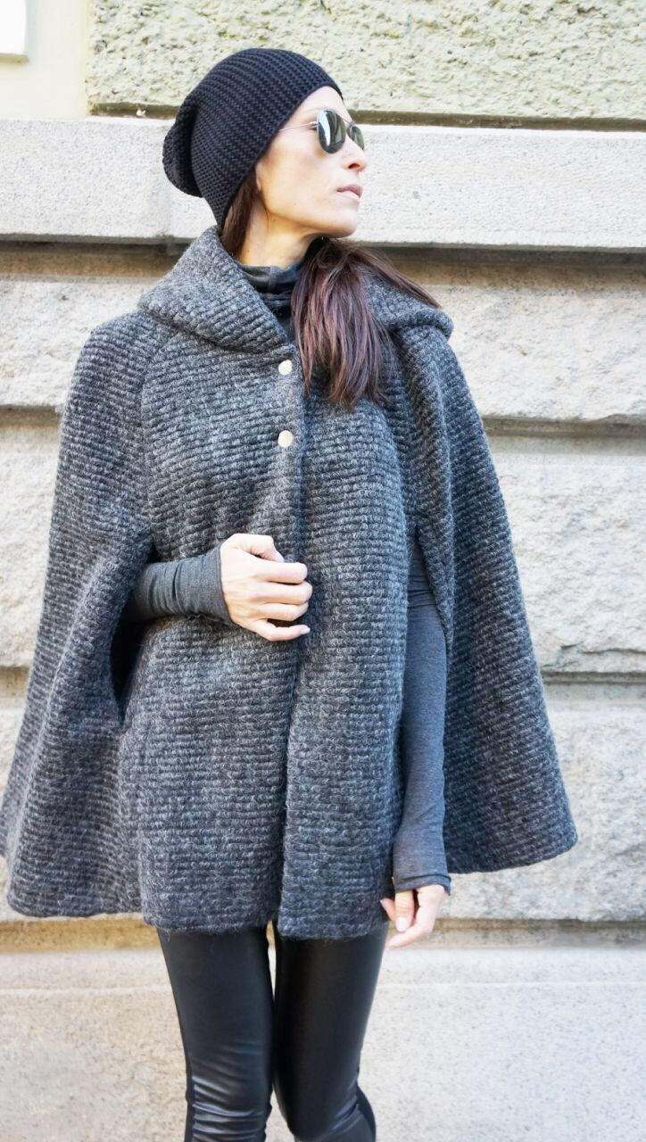 NEW Winter Cape Coat /Boucle Wool Extravagant Hooded Coat/
