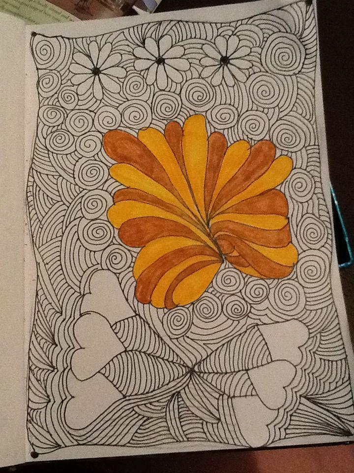 aqua flower experimenting  painting art flowers