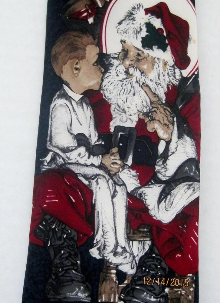 Vintage Saturday Evening Post Christmas Tie Litle Boy on Santa's Knee 1996 #SaturdayEveningPost #Tie