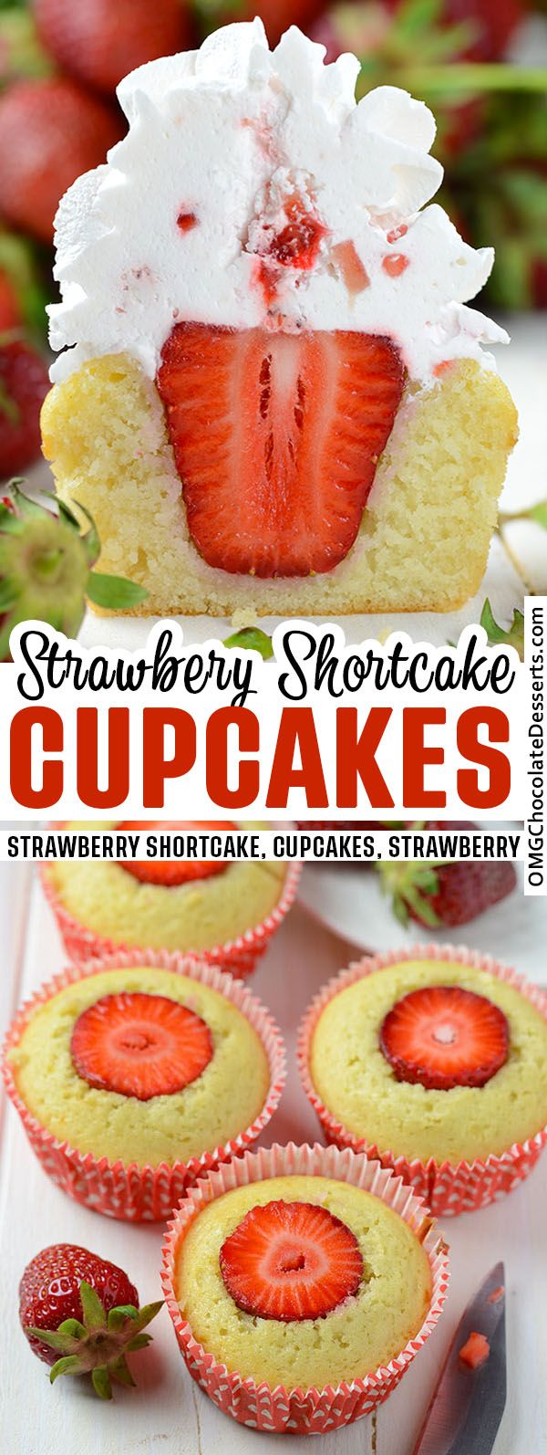 Strawberry Shortcake Cupcakes are my favorite vanilla cupcake recipe filled with fresh strawberries and a whipped cream frosting! These easy cupcakes are a delicious twist on a strawberry shortcake recipe. #strawberry #shortcake #cupcakes Strawberry Cupcake Recipes, Strawberry Shortcake Cupcake, Cream Filled Cupcakes, Mocha Cupcakes, Banana Cupcakes, Velvet Cupcakes, Vanilla Cupcakes, Velvet Cake, Easy Cake Recipes