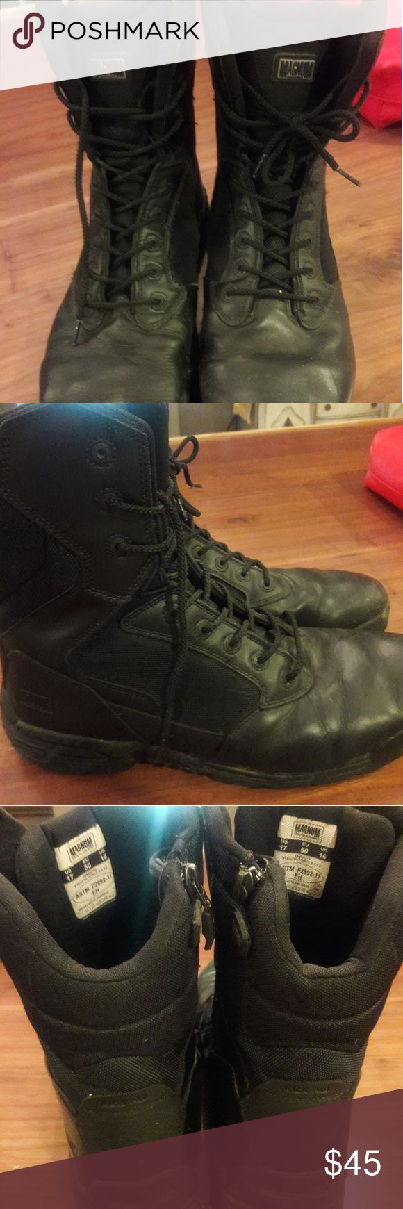 Men's sz 18 MAGNUM combat police force boots Excellent shape, 1st responder style, combat wear, great for being on your feet all day.  NOT steel toed! Magnum Shoes Boots