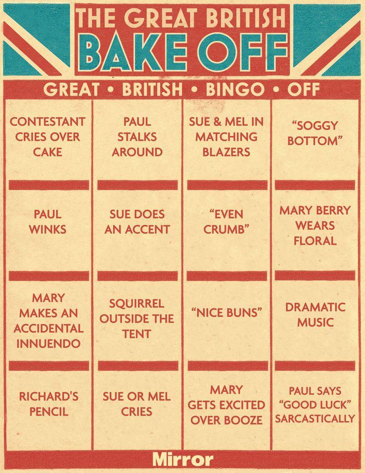 17 best great british bake off images on pinterest for Mirror bingo