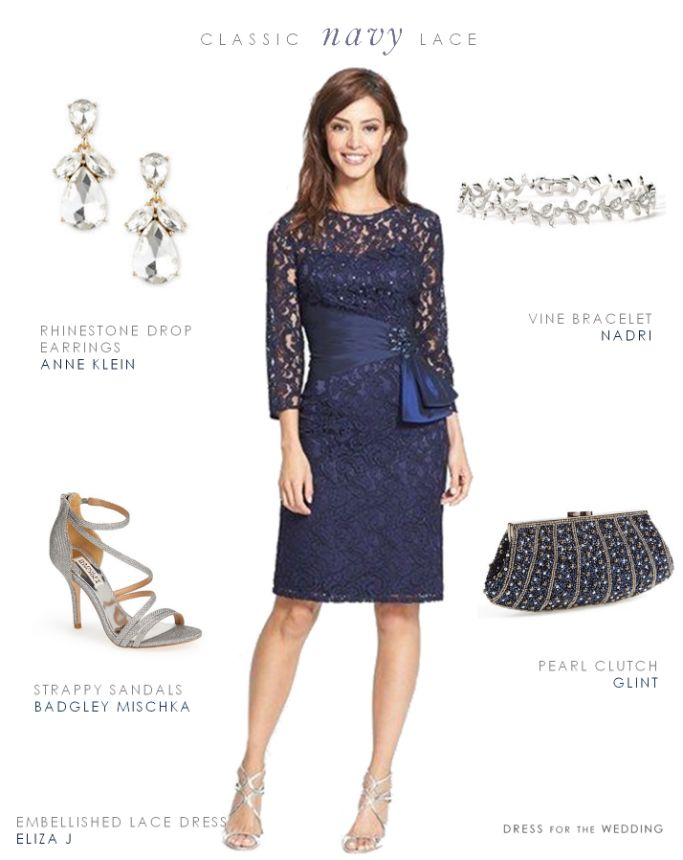 Classic Mother of the Bride look - Navy Blue Lace Cocktail Dress