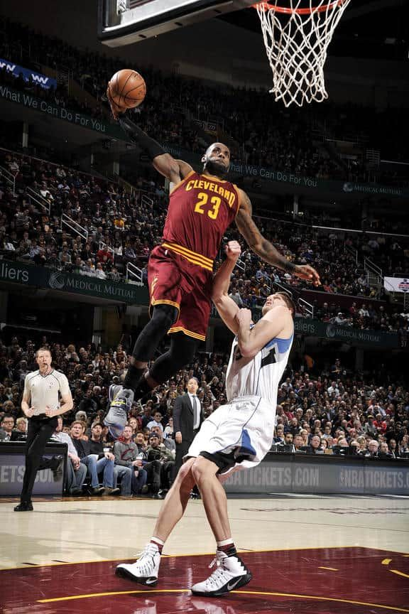 LeBron James #23 of the Cleveland Cavaliers goes for the dunk during the game against the Minnesota Timberwolves on February 1, 2017 at Quicken Loans Arena in Cleveland, Ohio.