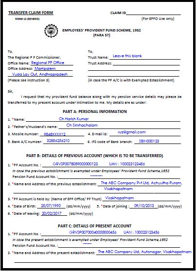 sample filled epf transfer form 13