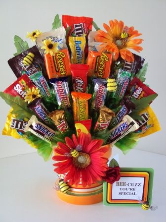 Happy Bee-day candy Bouquet for a birthday. Just Bee-cuz. Very cute.