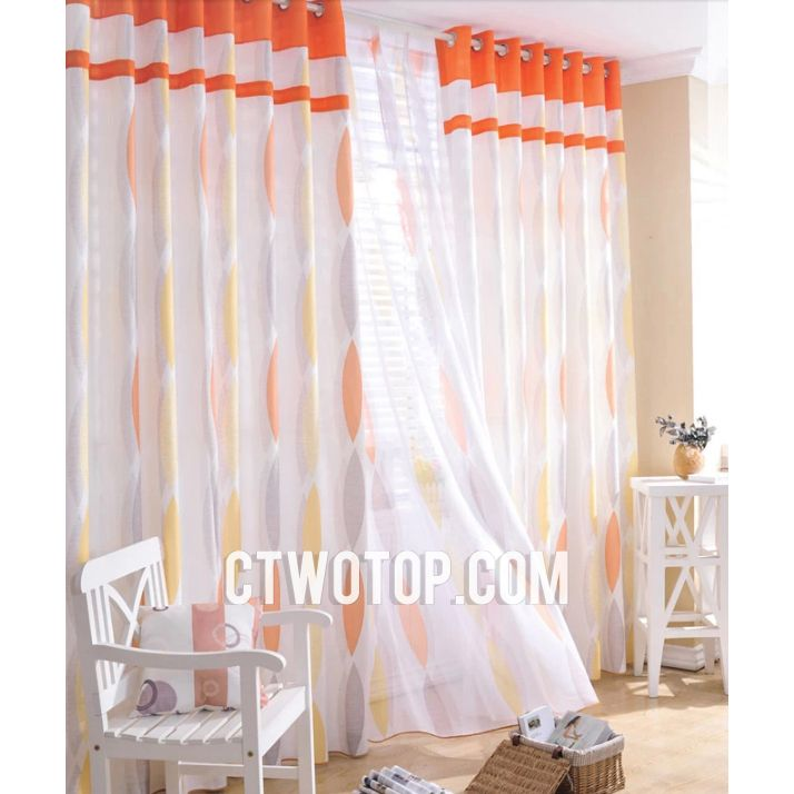 Popular Of Orange And White Curtains And Patterned Designer Cheap