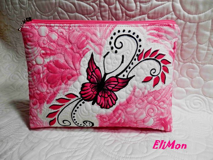 Hand paiting and quilting, cosmeticbag