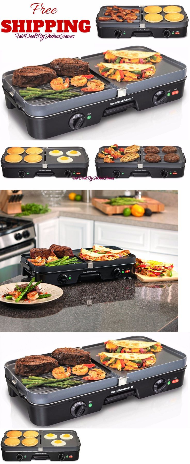 Grills and Griddles 20675: Reversible Grill Griddle Pan Hamburger Steak Large Combo Electric Nonstick Fry -> BUY IT NOW ONLY: $44.95 on eBay!