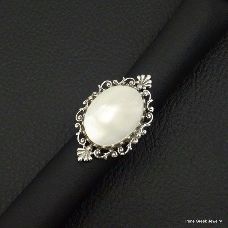 BIG RARE NATURAL MOTHER OF PEARL 925 STERLING SILVER GREEK HANDMADE ART RING #IreneGreekJewelry #Cocktail